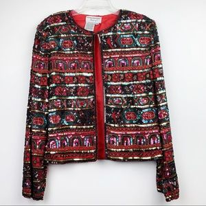Vintage Multicolor Sequin Jacket Women's Evening
